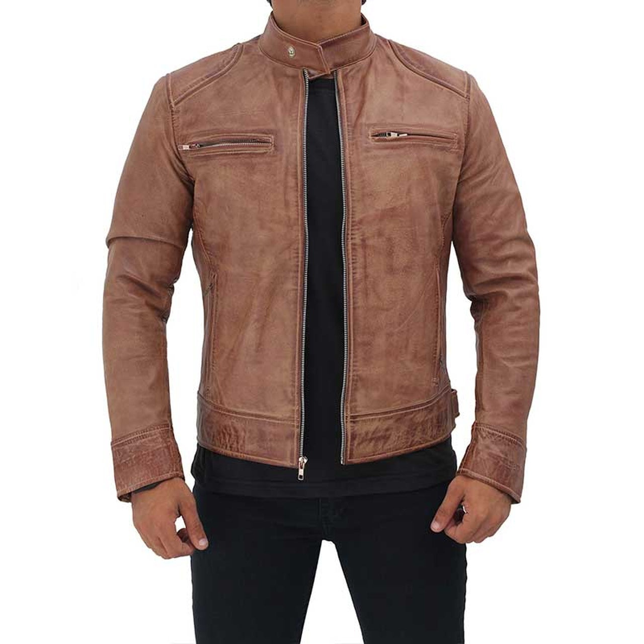 Men Rib Brown Real Leather Jacket - Leather Jacket