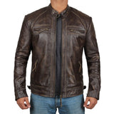 Quilted Distressed Brown Leather Jacket Men - Leather Jacket