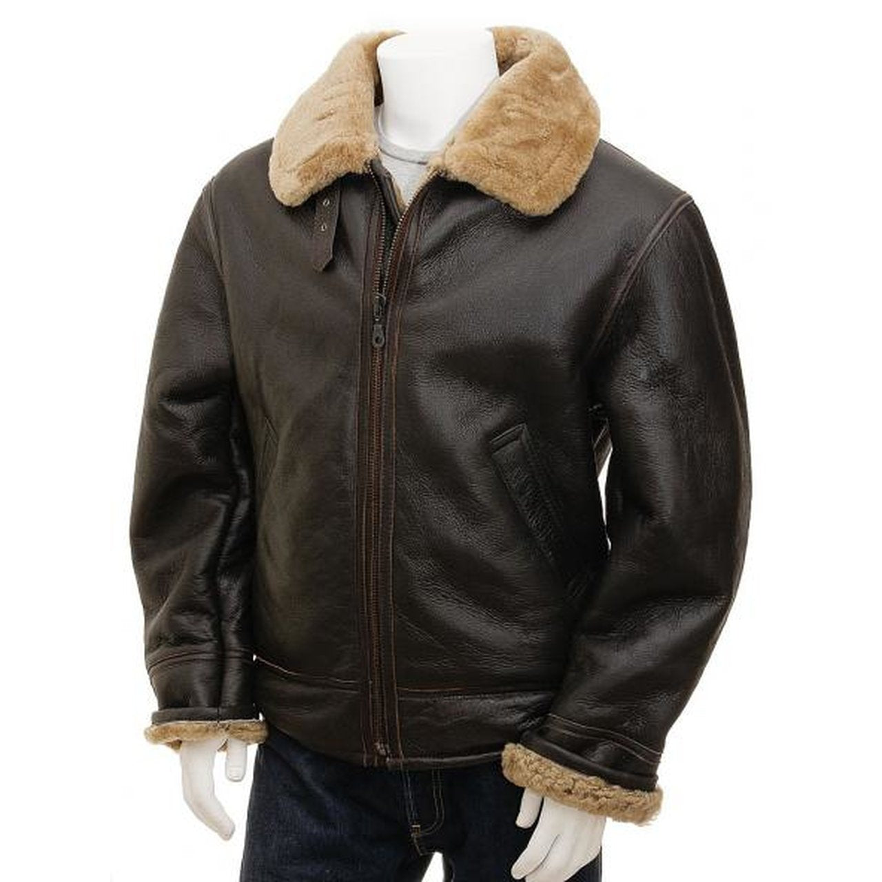 Shearling Aviator Brown Genuine Leather jacket Men- Leather Jacket