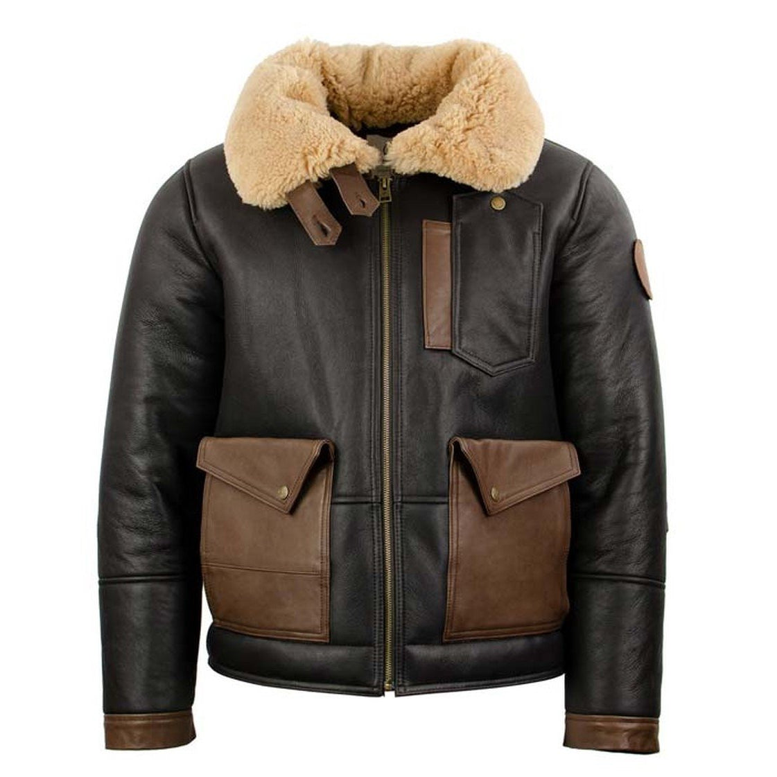 Shearling Bomber Geniune Leather Jacket for Men - bomber jacket - Leather Jacket