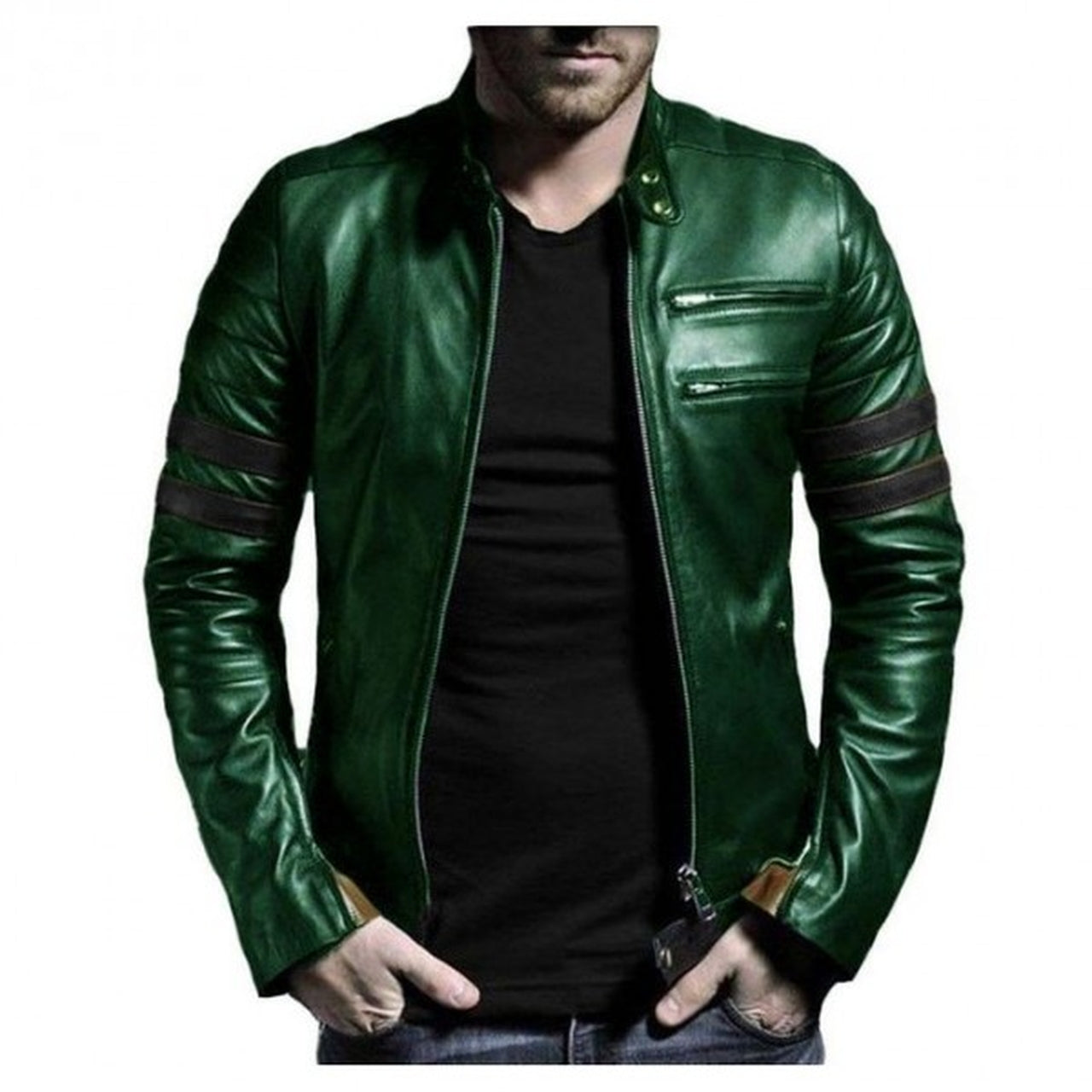Genuine Leather Jacket For Winter In Green with Black Strip