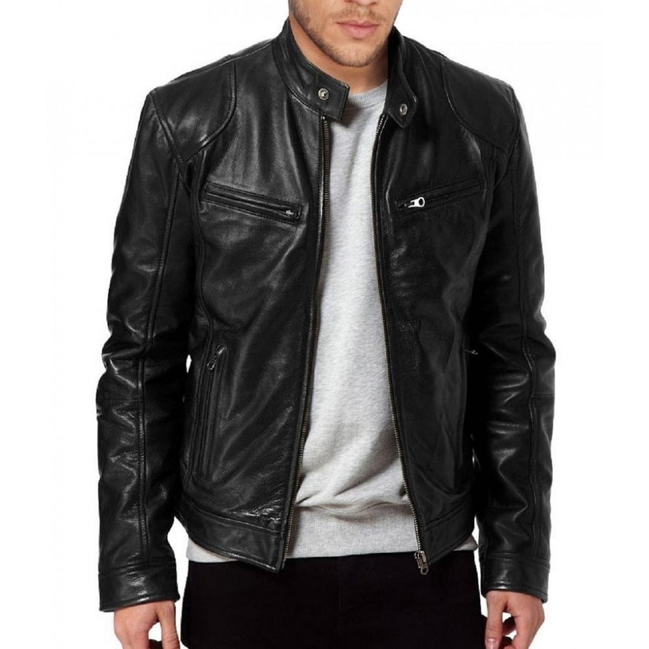 Lambskin leather jacket | Lambskin Leather Jacket Mens | Genuine Leather Jacket | Mens Jacket