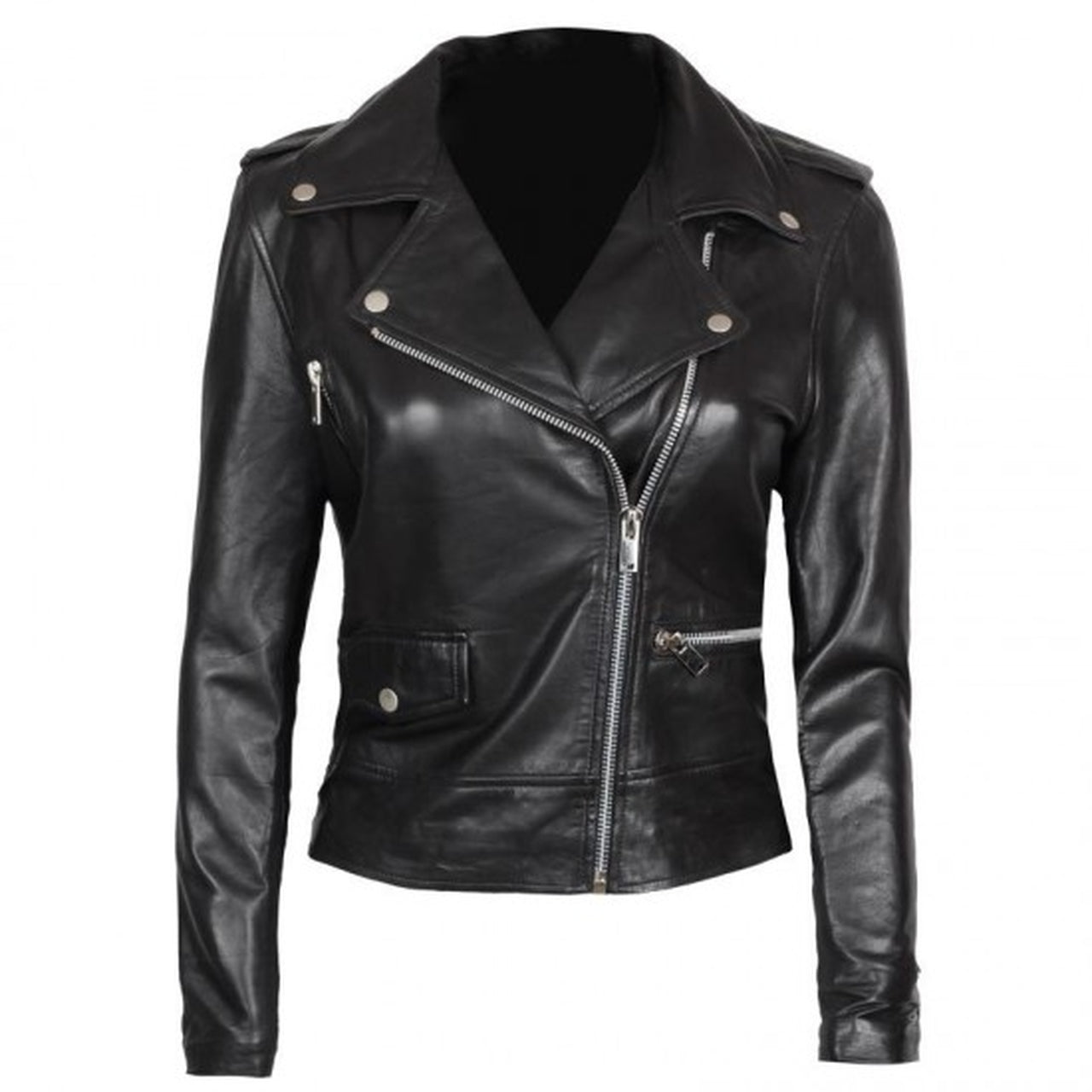 Asymmetrical Black Biker Jacket Women - Leather Jacket