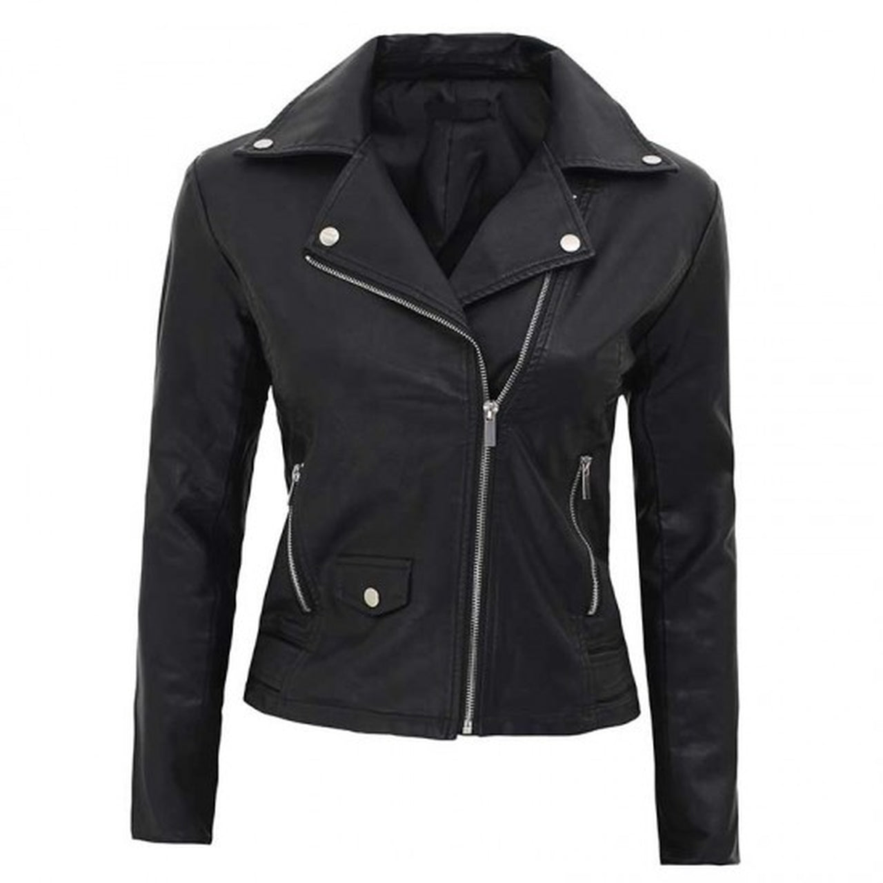 Lambskin Asymmetrical Leather Jacket Women - Leather Jacket