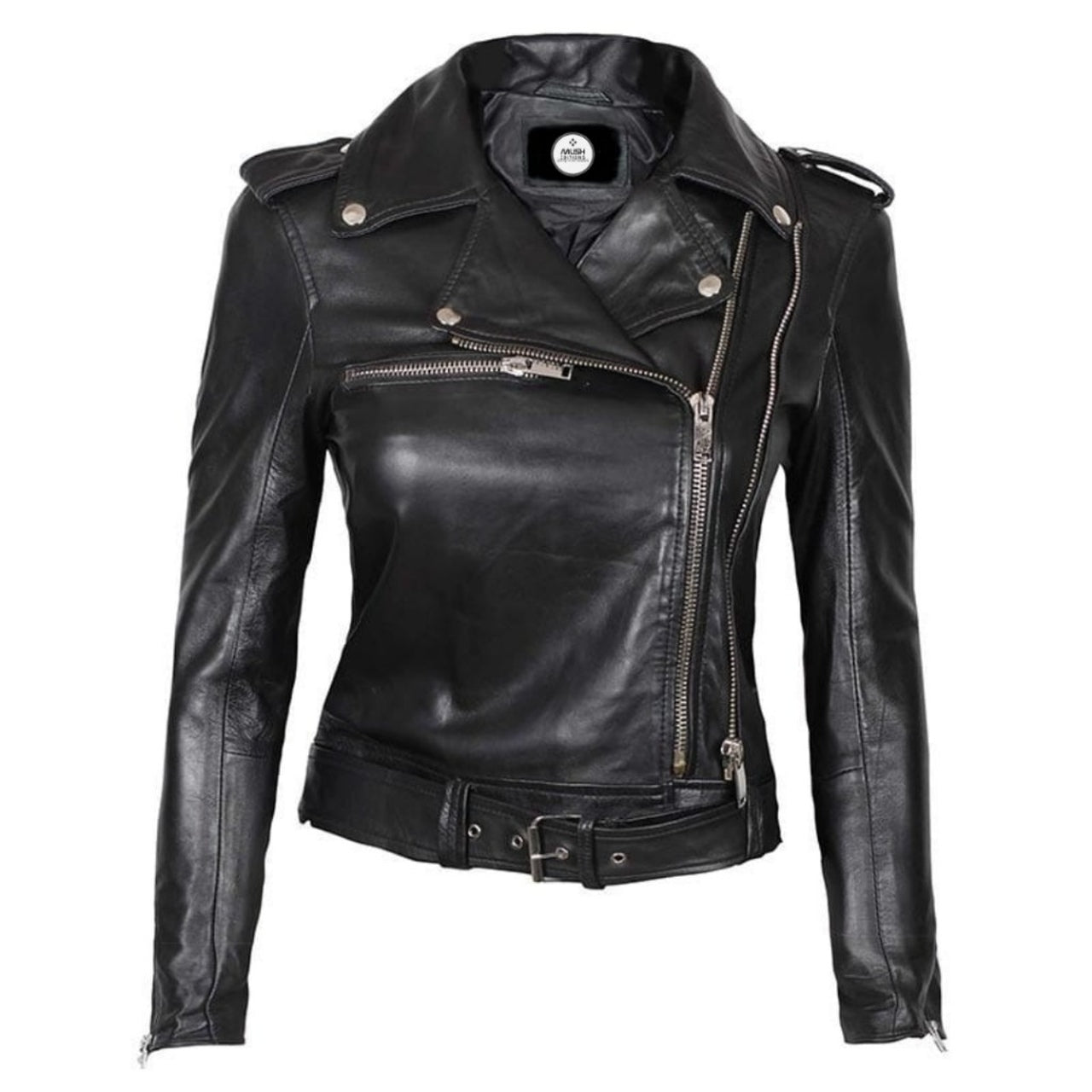 Asymmetrical Lambskin leather Jacket for Women