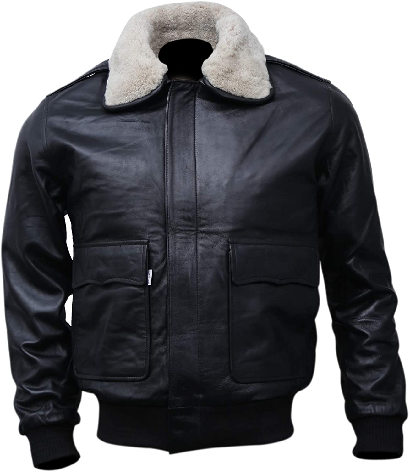 Black Bomber Style Shearling Fur Genuine Sheepskin Leather Jacket