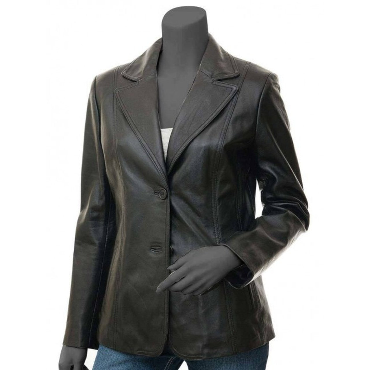 Black Leather Blazer Jacket Women - Leather Jacket