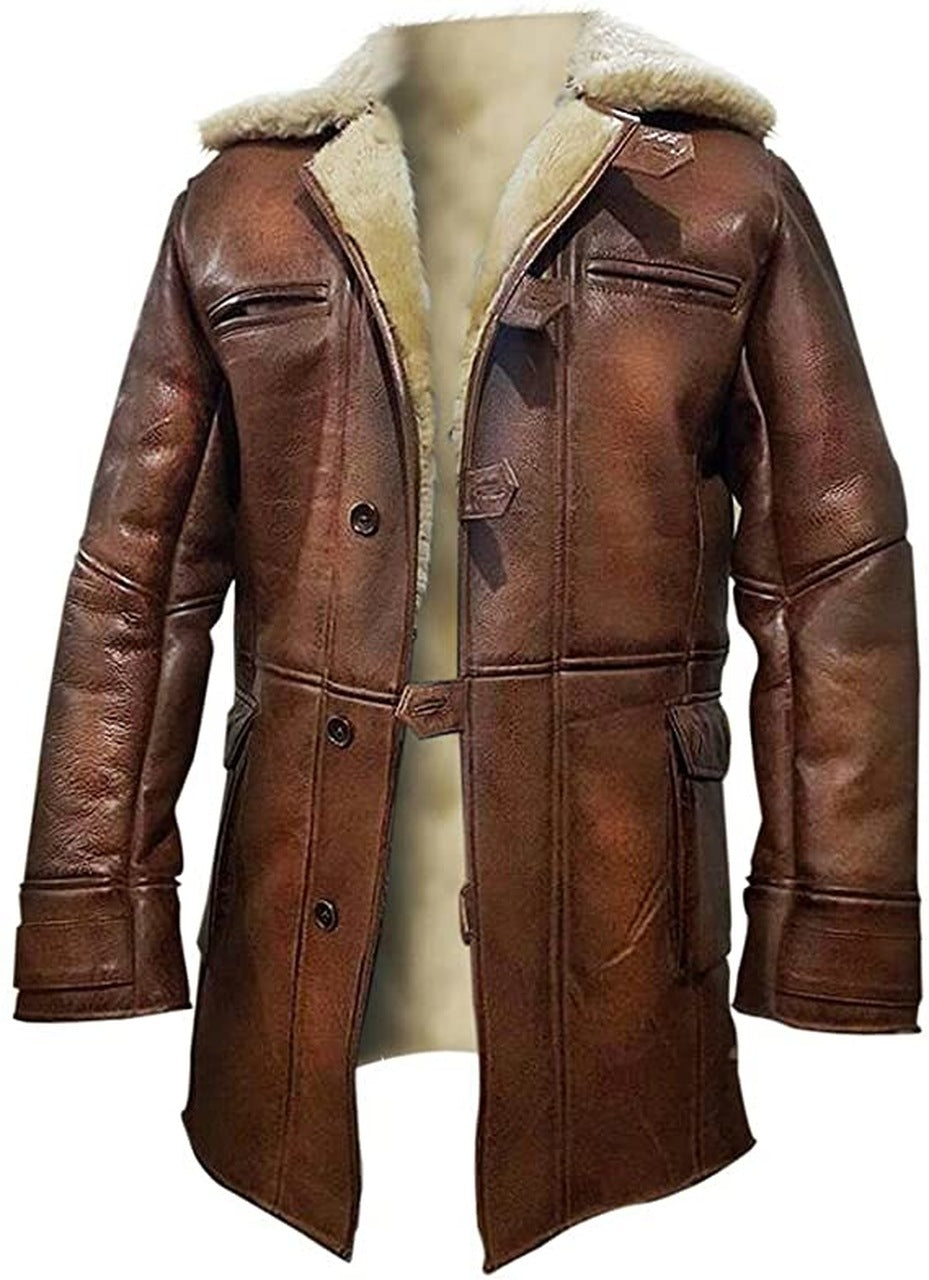 Bane Brown Leather Jacket Long Winter Coat for Mens