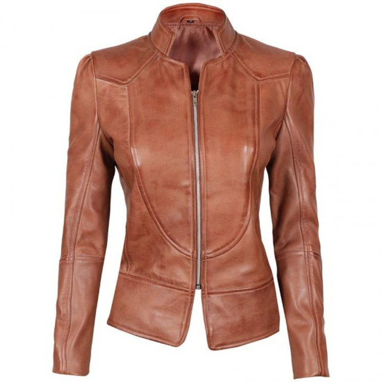 Brown Fitted Leather Jacket for Women - Leather Jacket