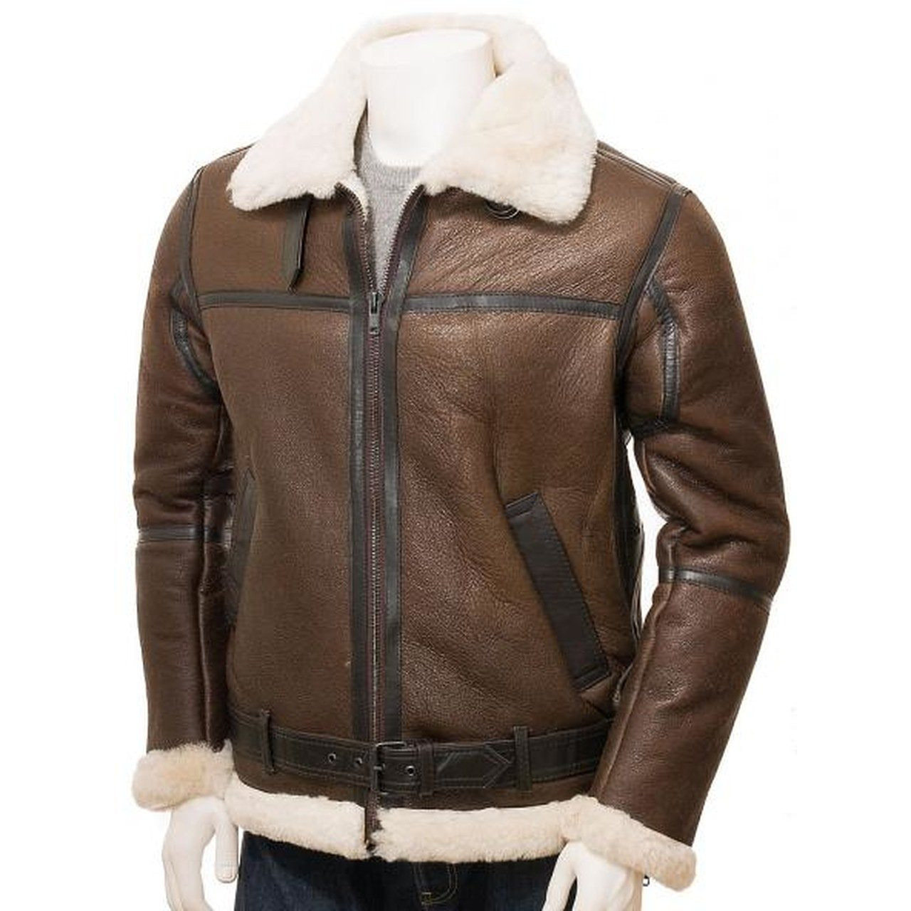Brown Men Leather Shearling Jacket - Leather Jacket
