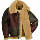 Cockpit Maroon RAF Fur Shearling Aviator B-3 Bomber Real Leather Jacket For Men - Leather Jacket