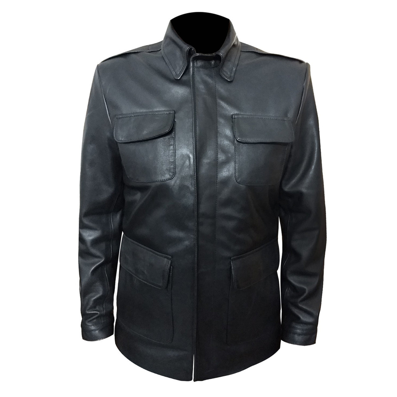 Classic Motorcycle Style Geniune Men Leather Jacket In Black