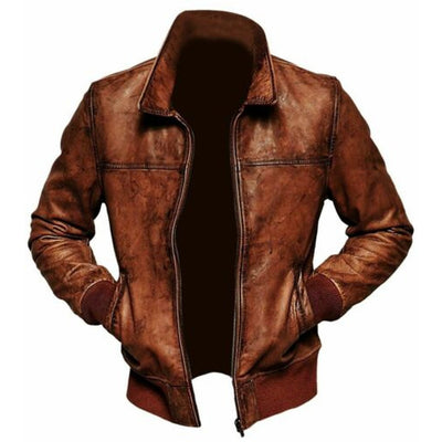 Distressed Brown Biker Mens Leather Jacket Motorcycle Vintage Cafe Racer Retro - Leather Jacket