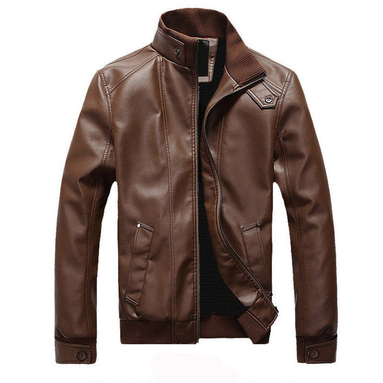 Geniune Sheep Skin Leather Jacket For Men  In Brown