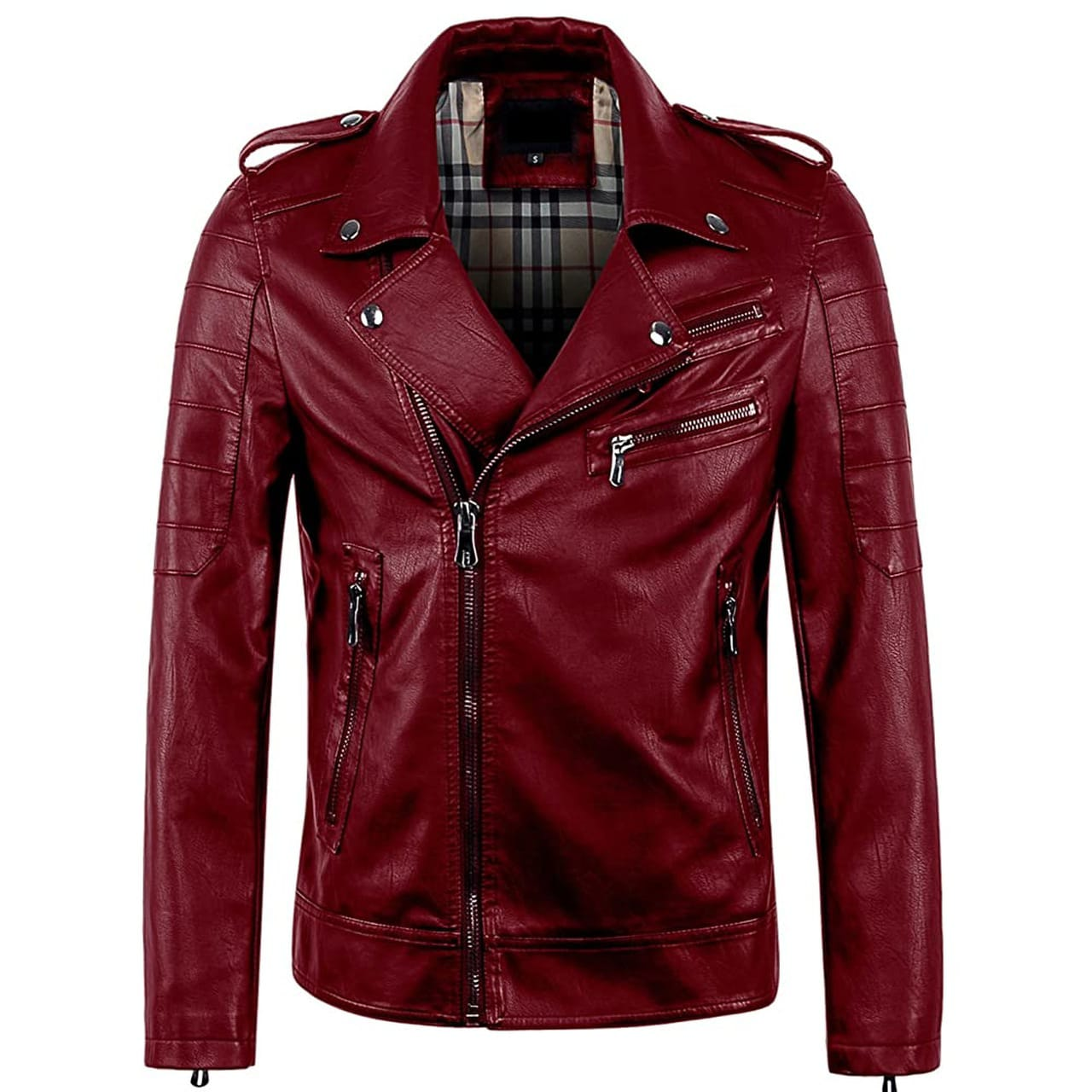 Light Weight Geniune Leather Jacket with Zip in Red Vintage Color for Men