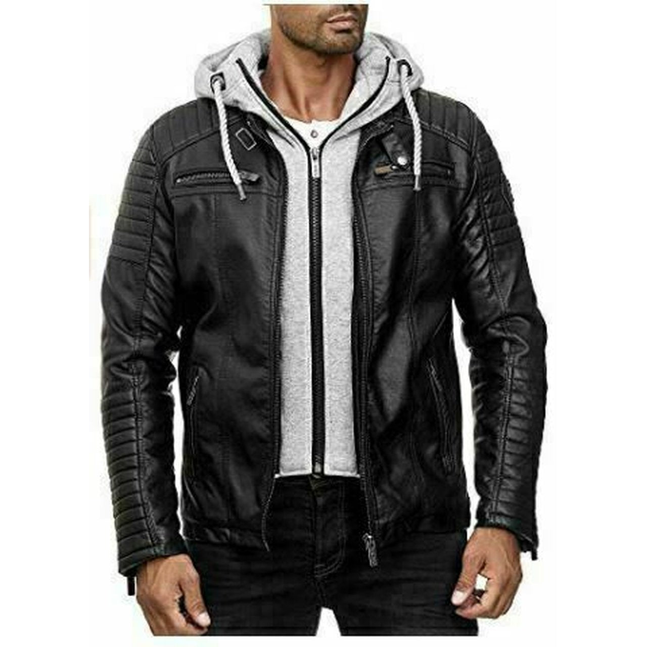 Mens Genuine Leather Jacket B3 Bomber Cafe Racer Biker Hooded Fashion Vintage