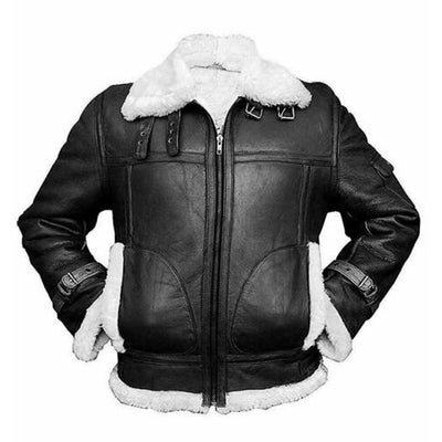 Men's Aviator RAF B3 Fur Shearling Bomber Real Sheepskin Leather Flying Jacket