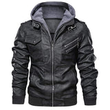 Men Leather Jacket With Removable Hood with Zipper Pockets