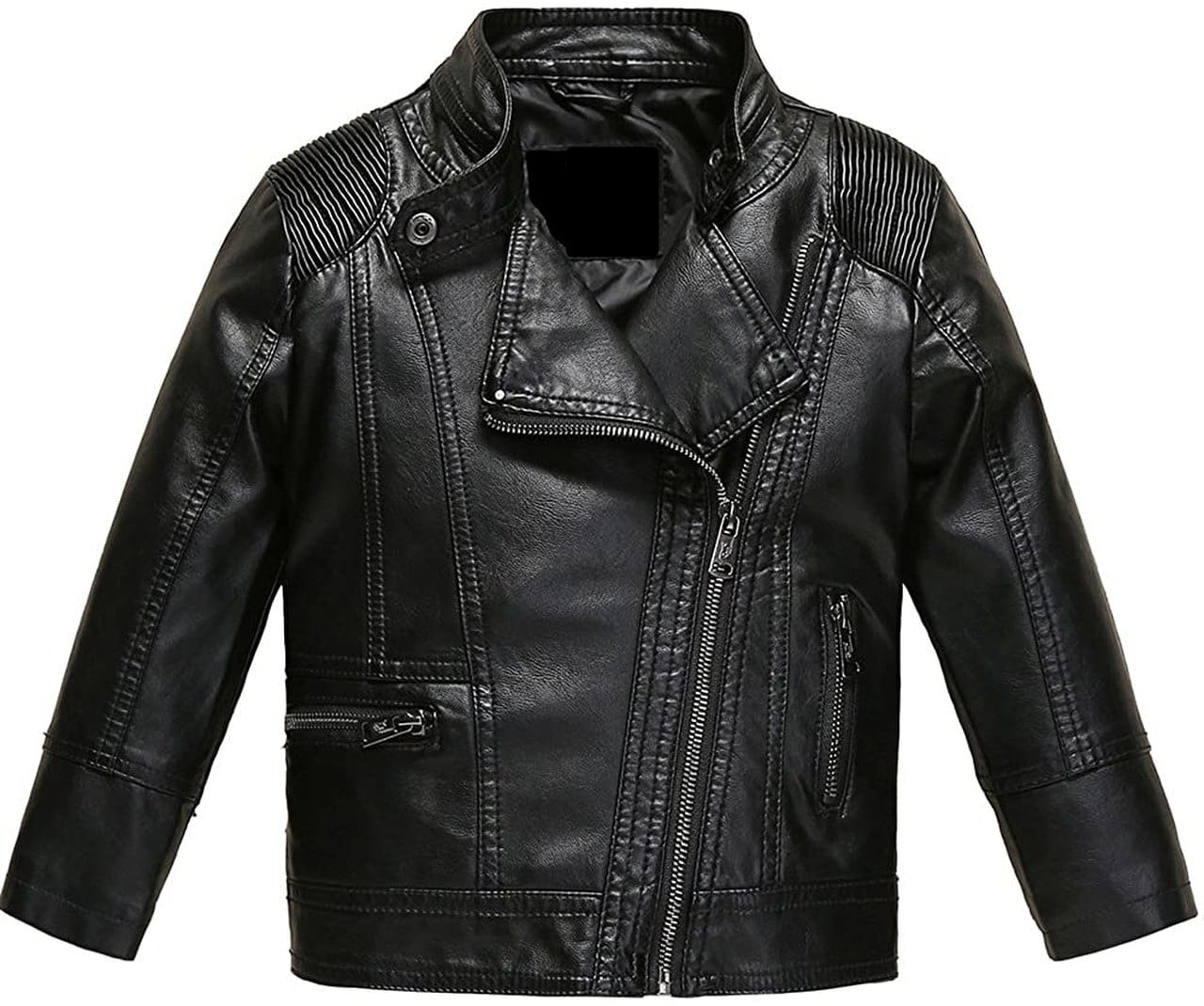 Men Sheepskin Genuine Leather Black Moto Biker Zipper Jacket