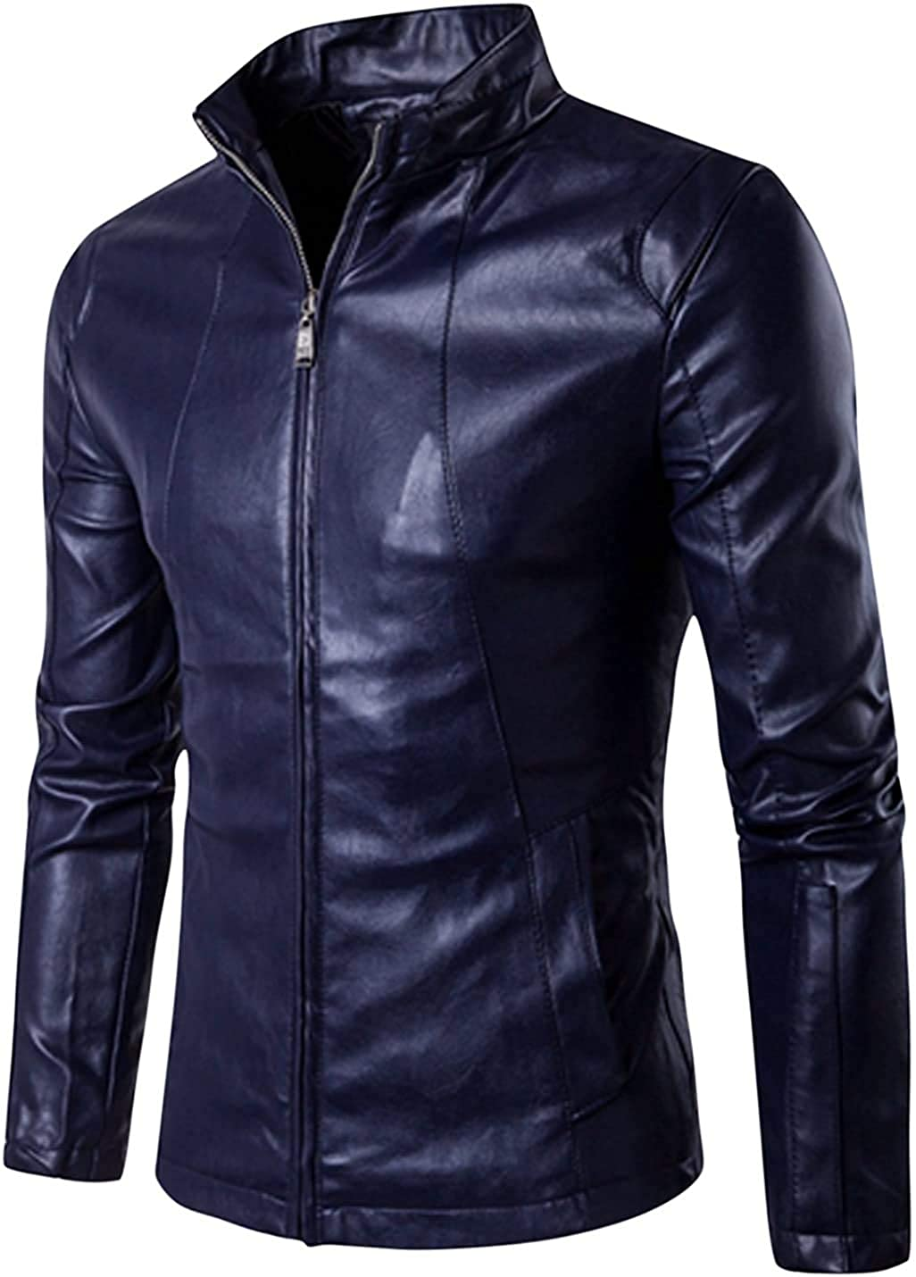 Mens Slim Fit Genuine Sheepskin Leather Jacket New Style In Navy