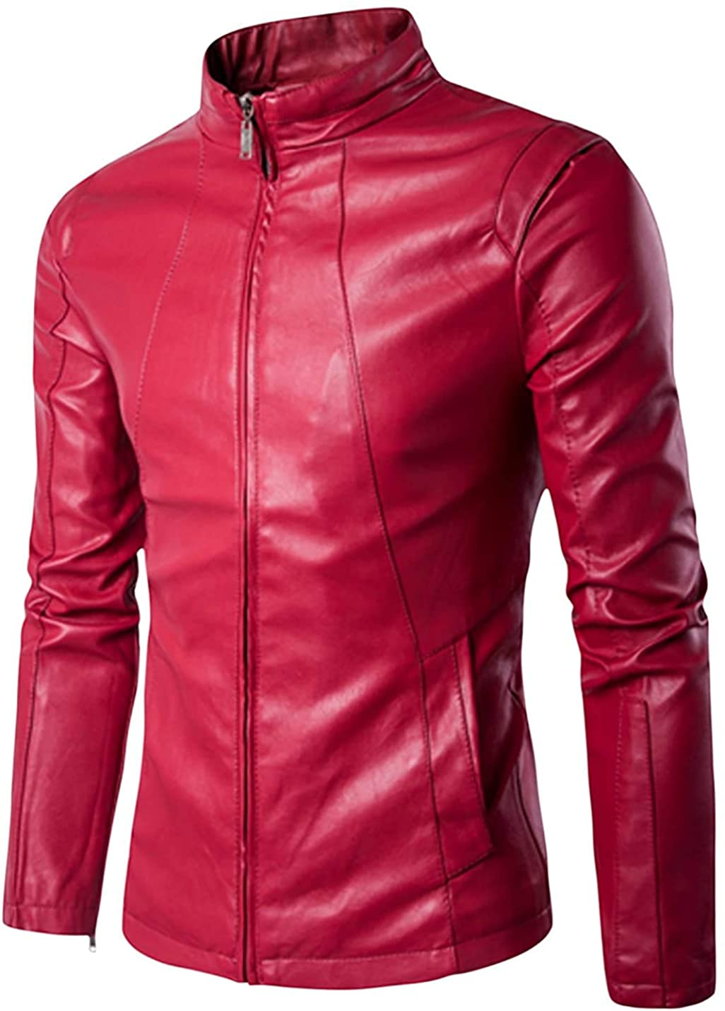 Mens Slim Fit Genuine Sheepskin Leather Jacket New Style In Red Vine