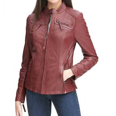 Red Casual Women Leather Jacket - Leather Jacket