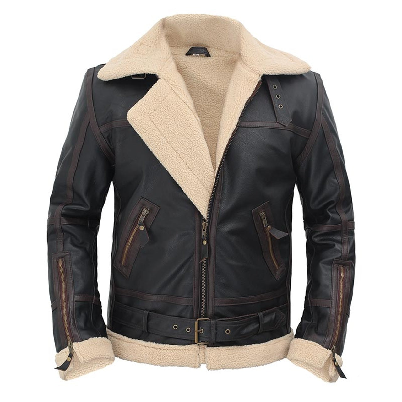 Shearling Geniune Leather Jacket - Leather Jacket