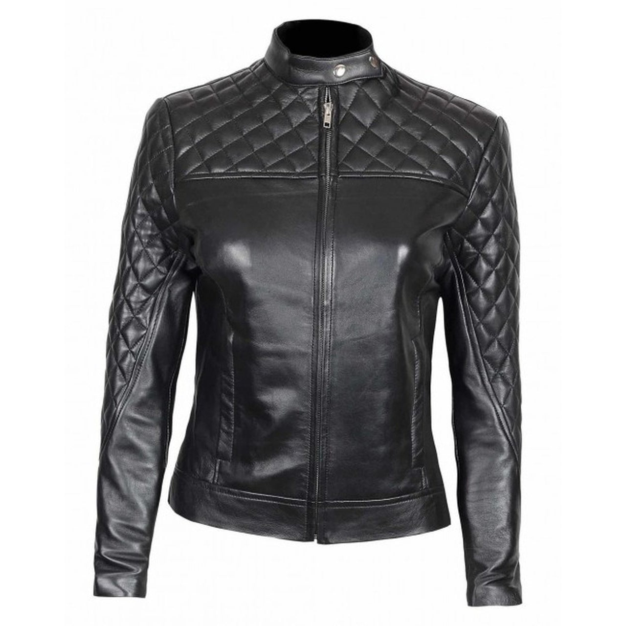 Slim Fit Quilted Leather Jacket For Women - Leather Jacket