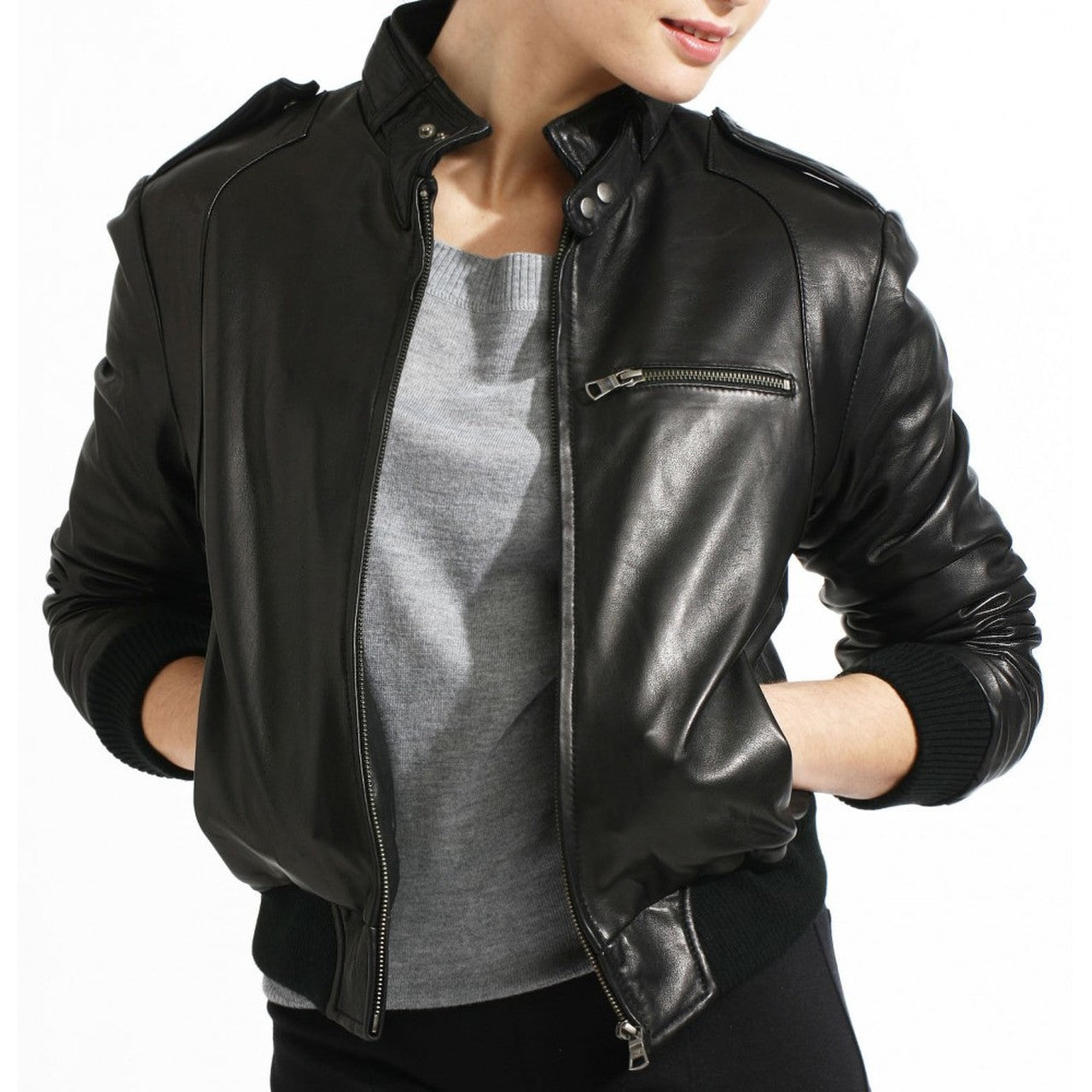 Stylish Bomber Leather Jacket for Women - Women Leather Jacket - Leather Jacket