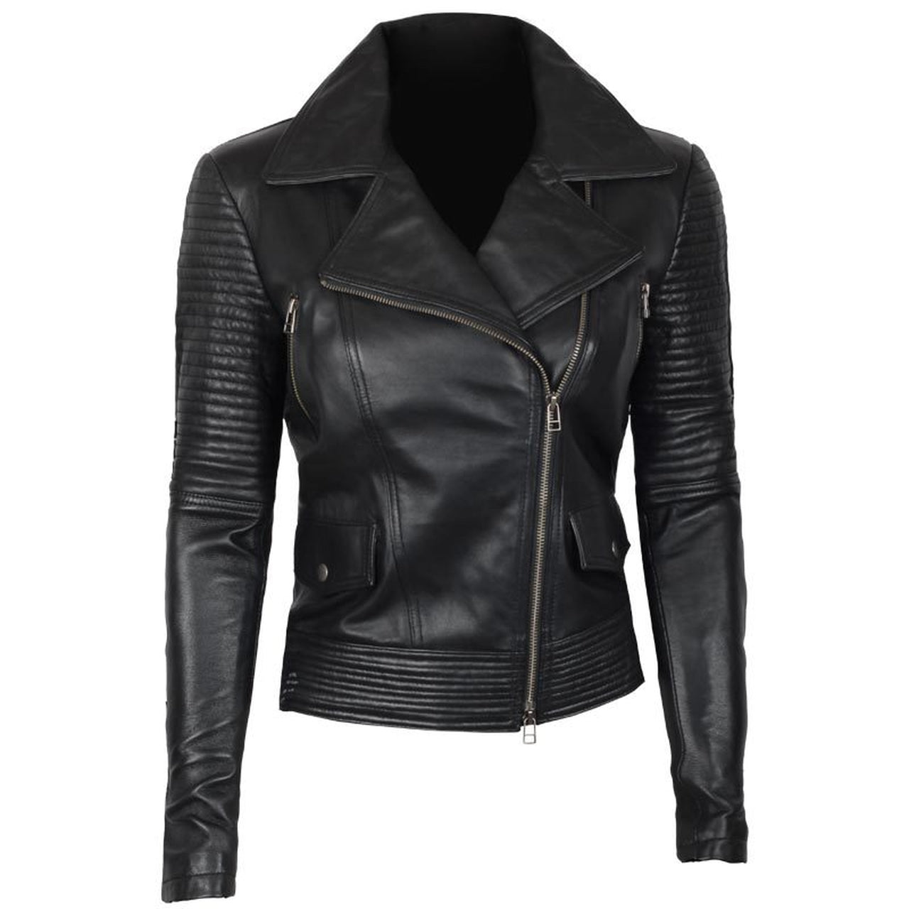 Women Black Asymmetrical Biker Quilted Leather Jacket - Leather Jacket