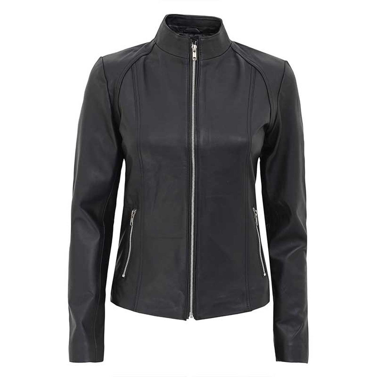 Women Black Leather Cafe Racer Jacket - Leather Jacket