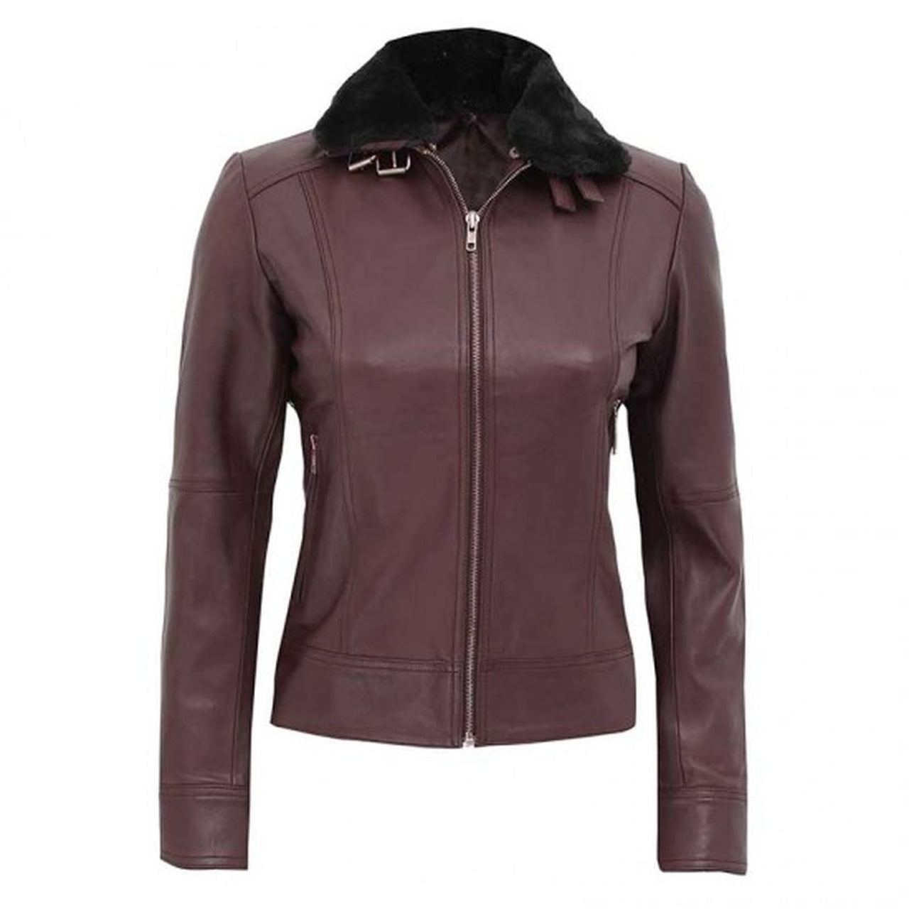 Women Brown Fur Collar Leather Jacket - Leather Jacket