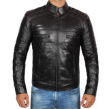Black Cafe Racer Motorcycle Leather Jacket - Leather Jacket