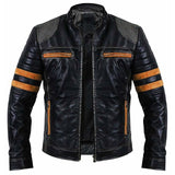 Men Vintage Distressed Biker Leather Jacket - Leather Jacket