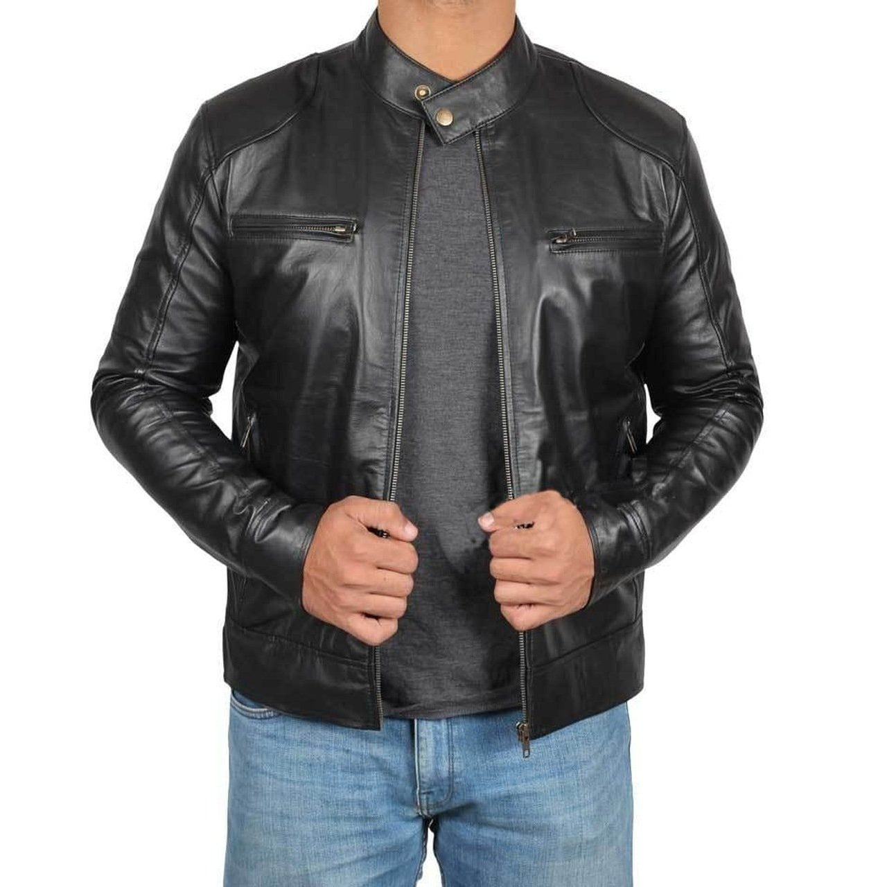 Motorcycle Style Men Genuine Leather Jacket - Leather Jacket