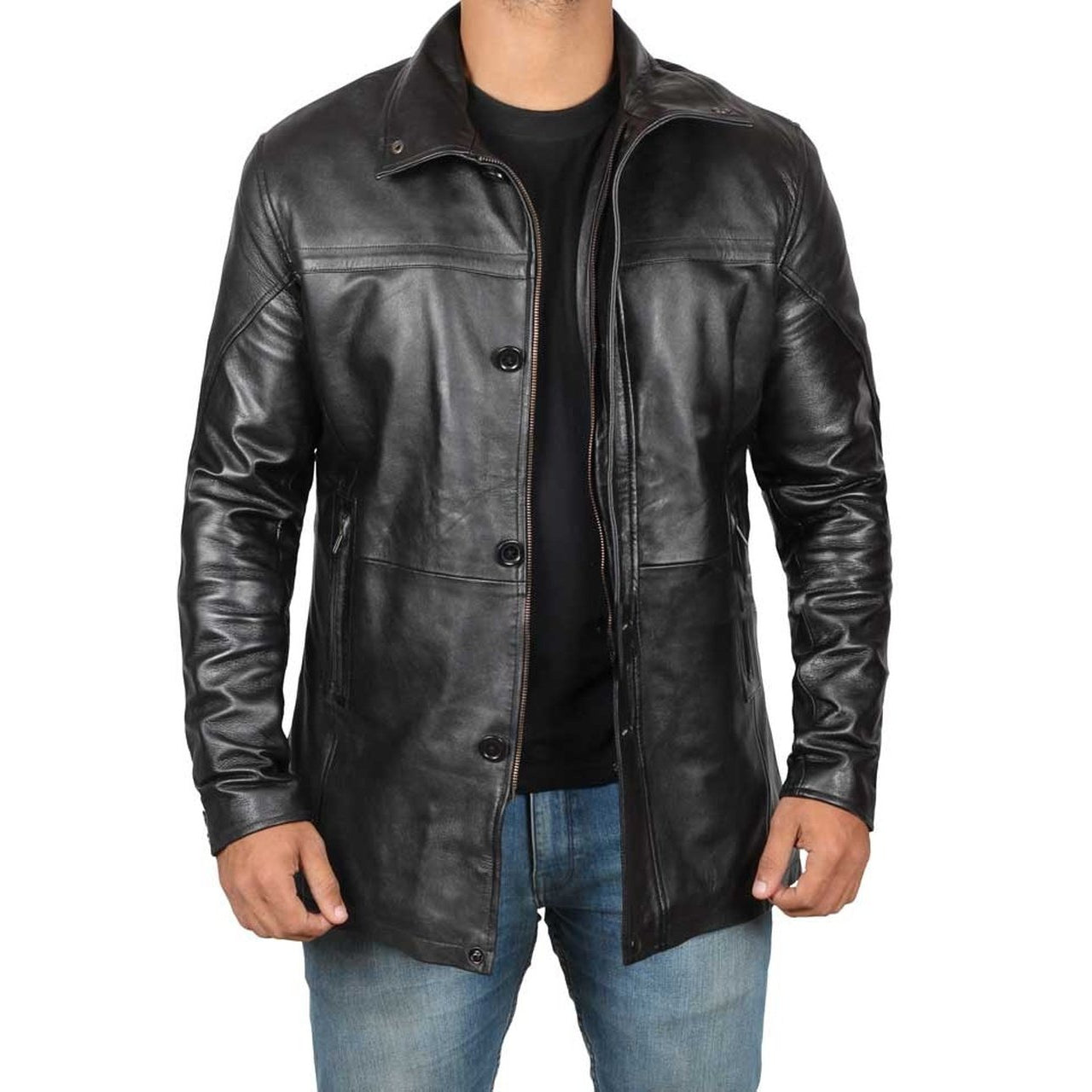 Genuine Black Leather Car Coat Men - Leather Jacket