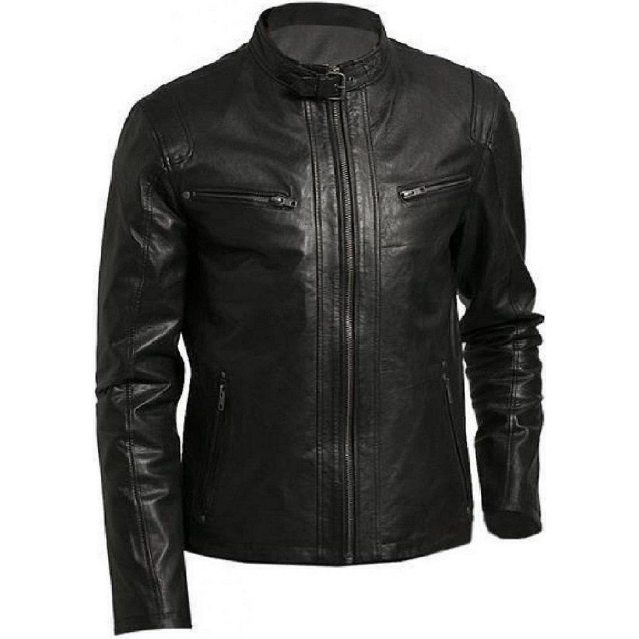 Biker Men Real Lambskin Leather Jacket With Buckle Strap Collar - Leather Jacket