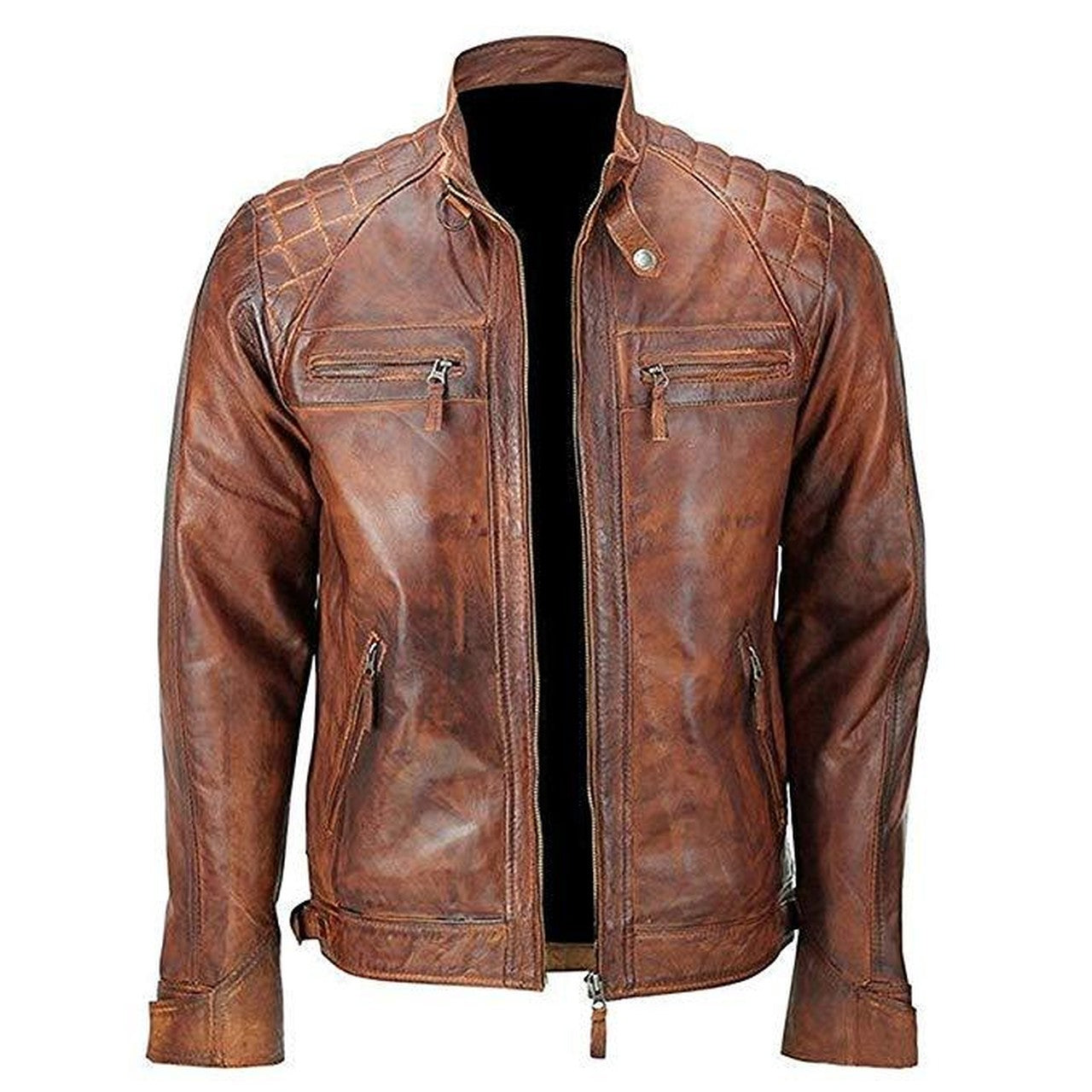 Brown Vintage Distressed Biker Leather Mens Jacket - Leather Jacket