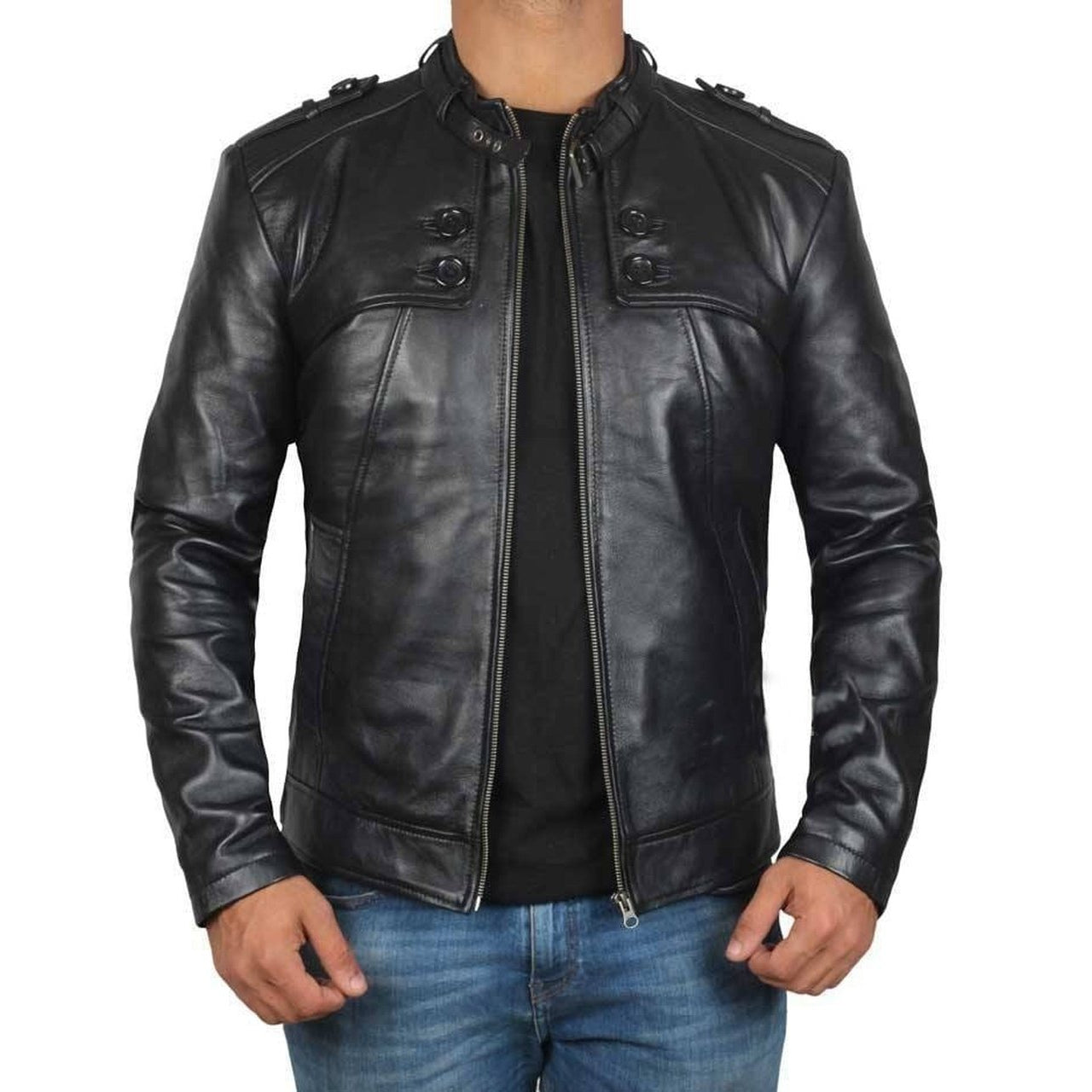Button Pocket Black Belted Collar Leather Biker Jacket - Leather Jacket
