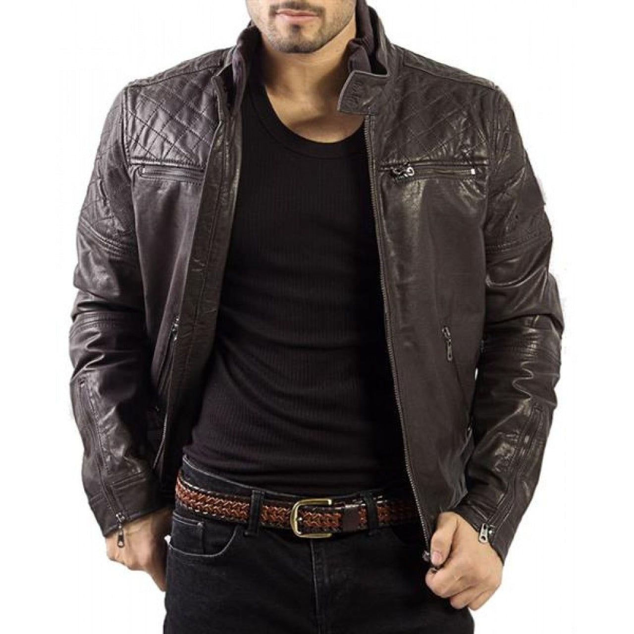 Brown Lambskin Distressed Filipo Leather Jacket - Leather Jacket