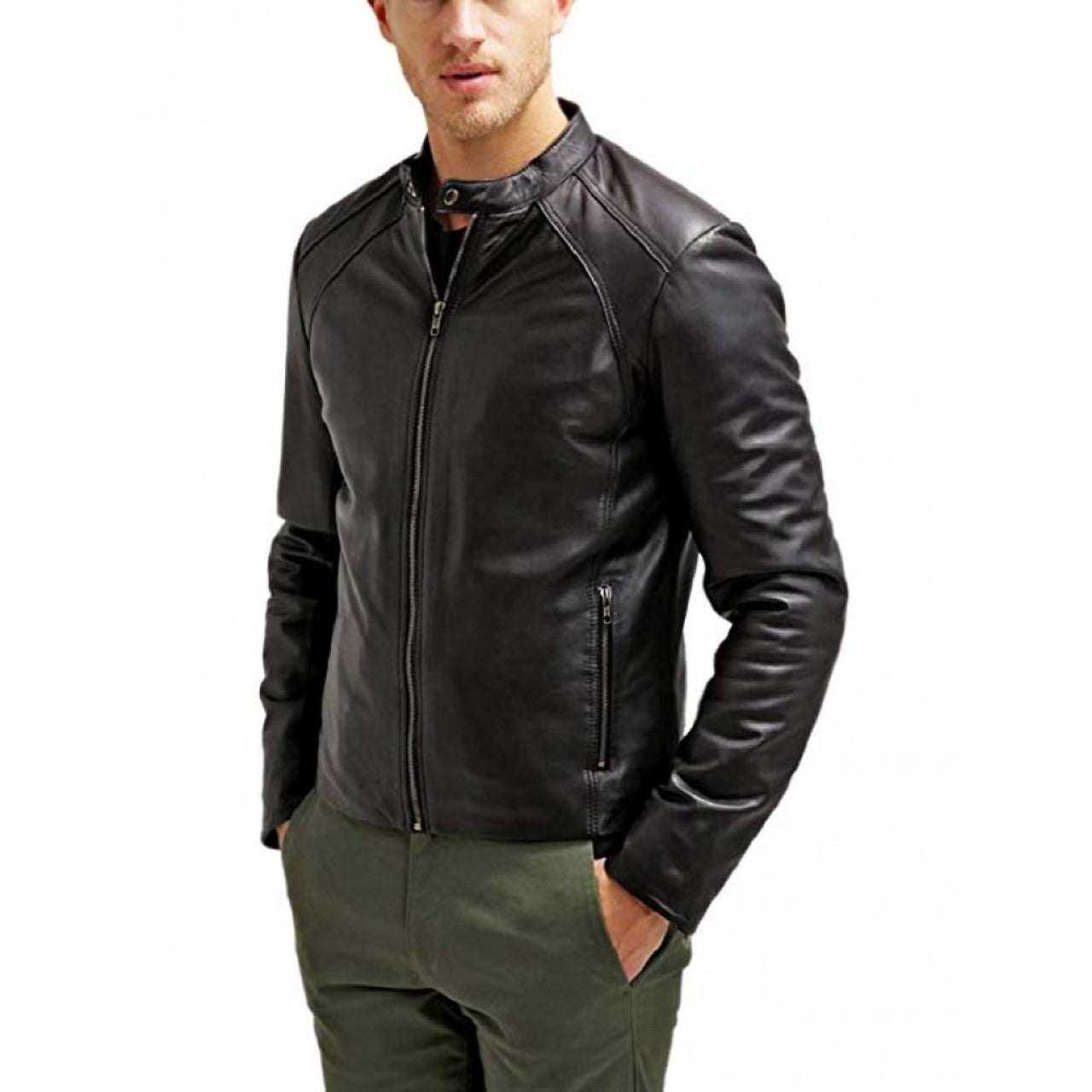 Jaxx Real Leather Biker Jacket In Black - Leather Jacket