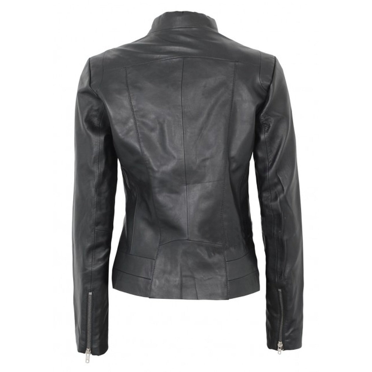 Black Fitted Women Leather Jacket - Leather Jacket
