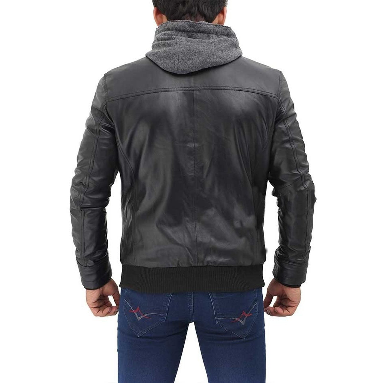 Black Hooded Real Leather Jacket - Leather Jacket