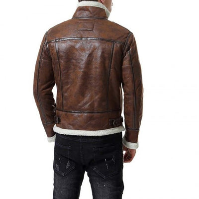 Brown Shearling Leather Jacket Men - Leather Jacket
