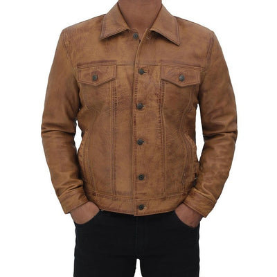 Camel Brown Button Up Leather Trucker Jacket - Leather Jacket