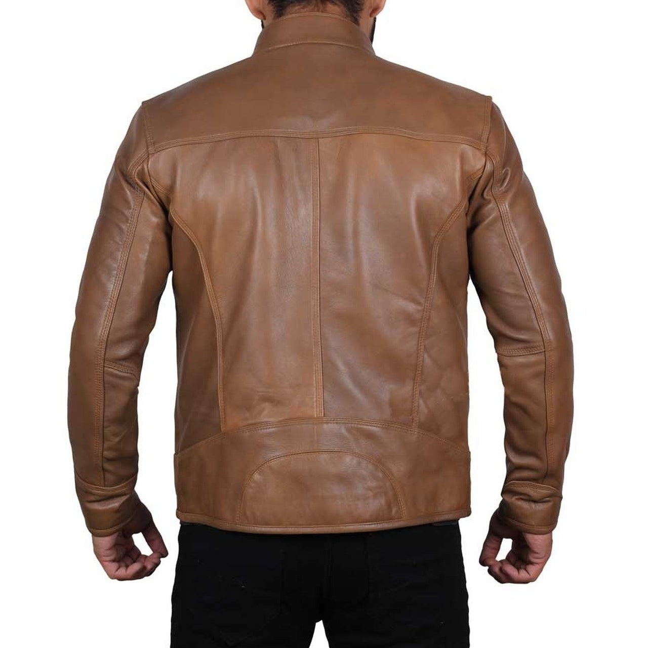 Men Light Brown Leather Jacket - Leather Jacket