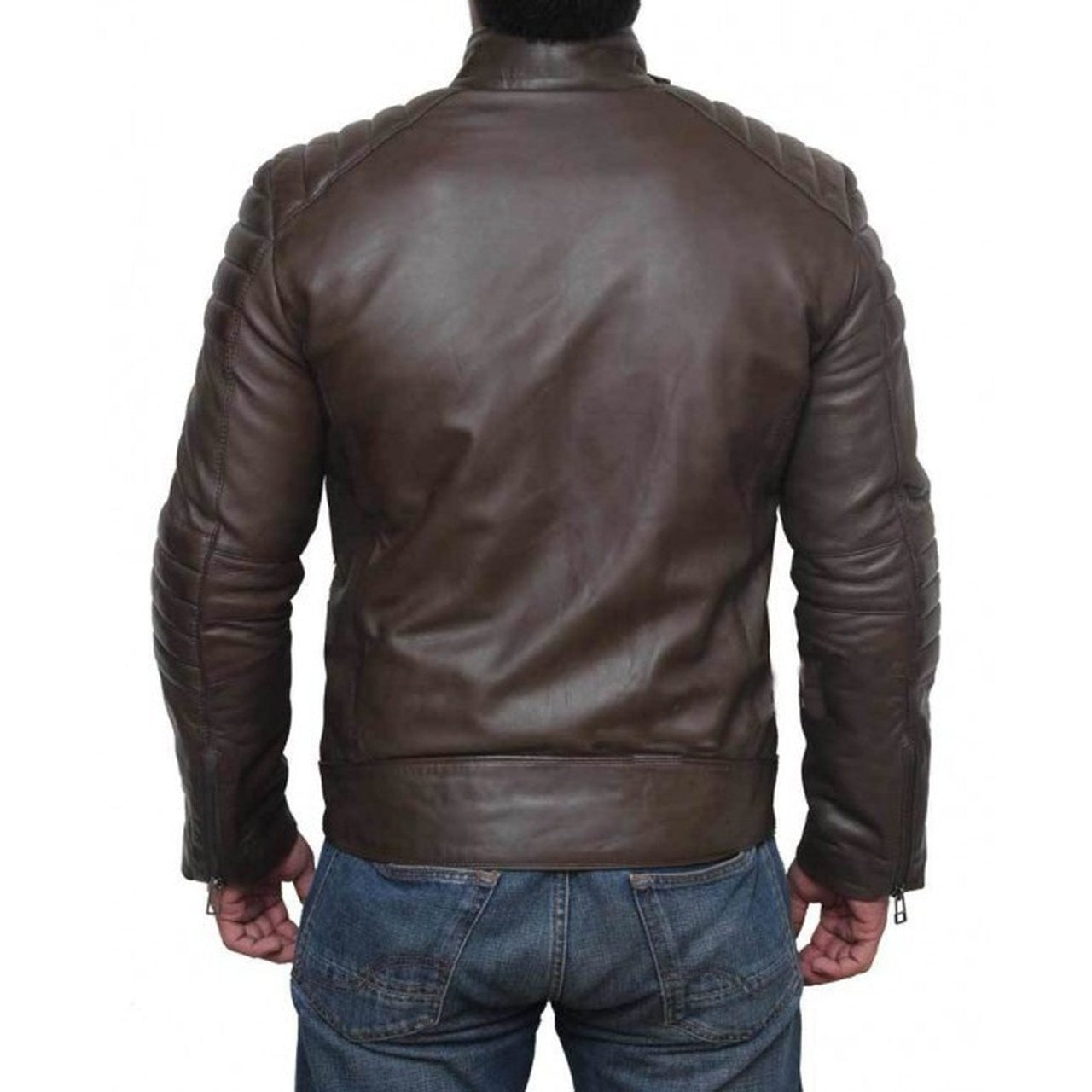 Quilted Genuine Four Zipper Pocket Leather Biker Jacket Men - brown leather jacket - Leather Jacket