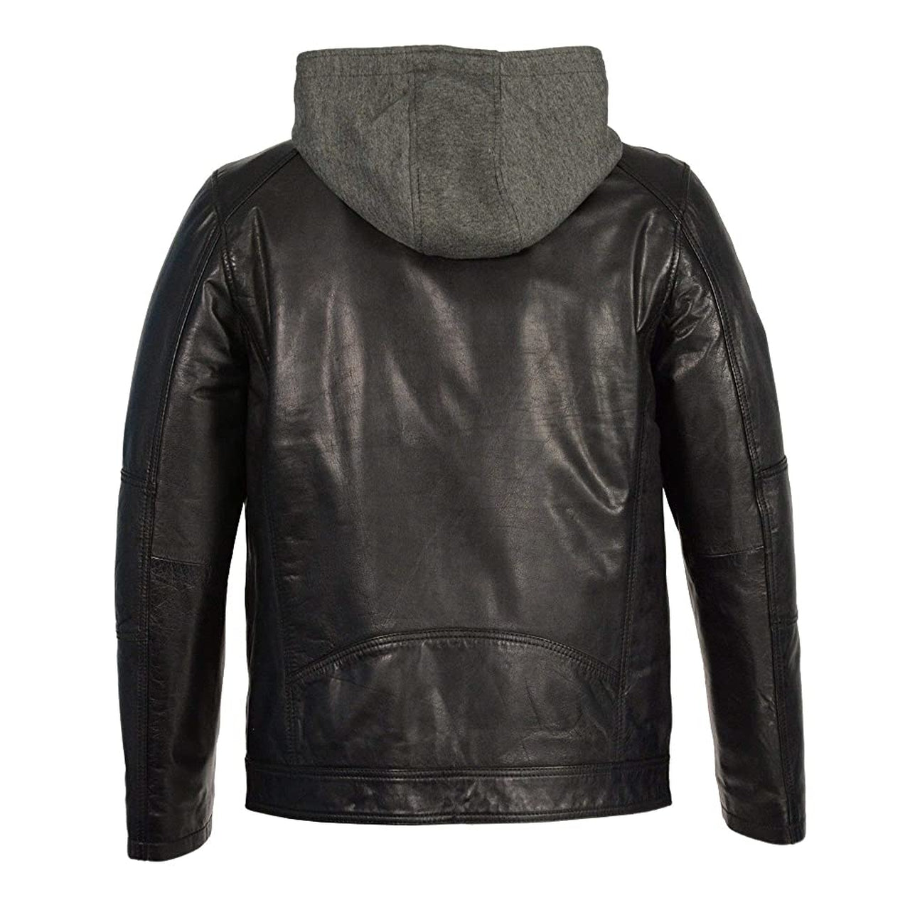 Men Leather Moto Jacket in Black With Removable Hoodie