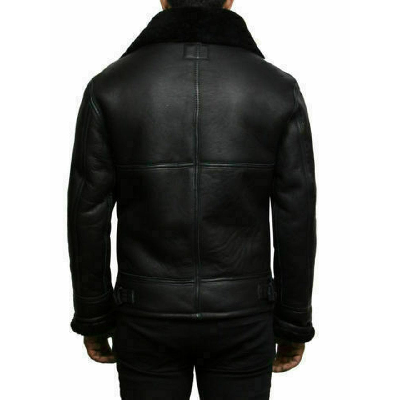 Black Bomber RAF Aviator Pilot Flying Mens Genuine Sheepskin Leather Jacket - Leather Jacket