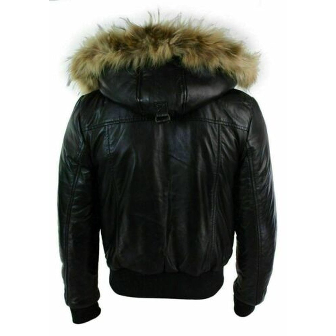 Black Puffer Bomber Hooded Biker Cafe Racer Real Leather Jacket for Men